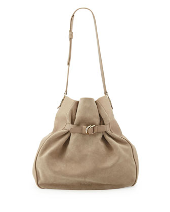 Augusta Leather & Suede Hobo Bag, Taupe