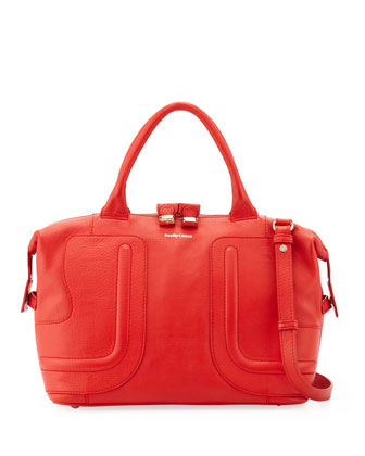 Kay Medium Leather Satchel Bag, Red