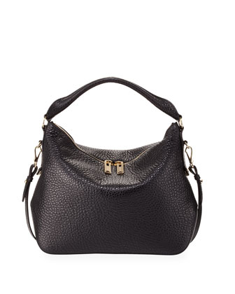 Small Pebbled Leather Hobo Bag, Black