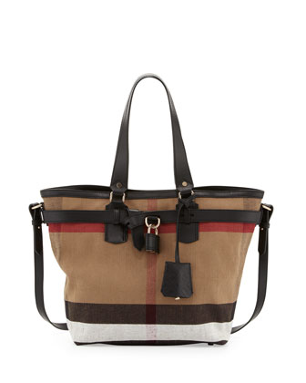 Check Canvas Padlock Tote Bag, Black