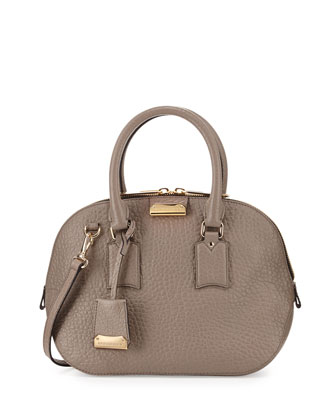 Small Domed-Zip Satchel Bag, Pale Taupe Brown