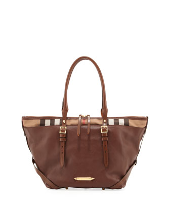 Small Leather & Check Tote Bag, Brown