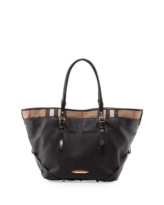 Leather Tote with Check Trim, Black
