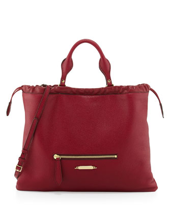 Drawstring Leather Tote Bag, Crimson