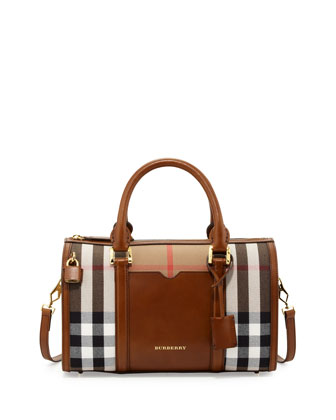 Check & Leather Medium Satchel Bag, Brown