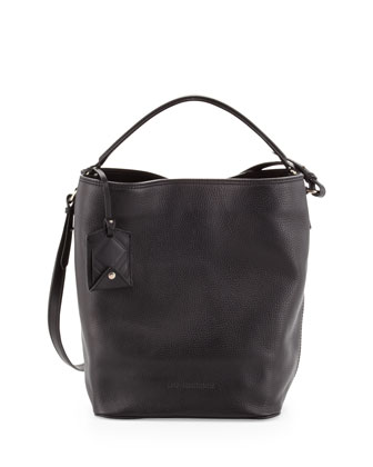 Pebbled Check-Top Bucket Bag, Black