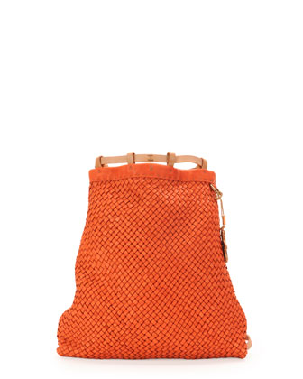 Nuvola Woven Leather Backpack, Orange
