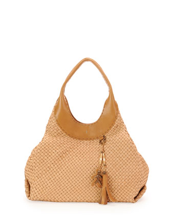 Vanessa Woven Leather Hobo Bag, Beige
