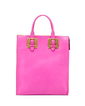 Soft Buckled Zip Tote Bag, Hot Pink