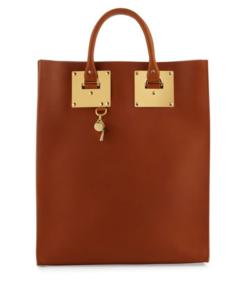 Leather Tote Bag with Whistle Charm, Tan