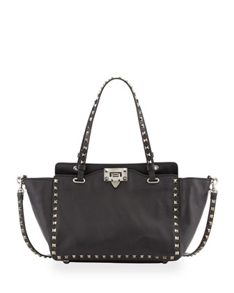 Noir Rockstud Mini Tote Bag, Black