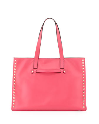 Rockstud Medium Soft Square Tote Bag, Pink