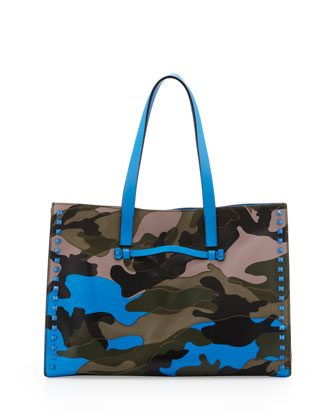 Rockstud Camo Canvas-Leather Soft Medium Tote Bag, Multi