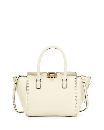 Rockstud Small Shopper Tote Bag, Ivory