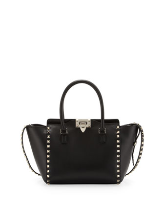 Rockstud Small Shopper Tote Bag, Black