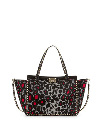 Rockstud Medium Calf Hair Tote Bag, Leopard