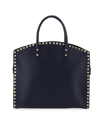 Rockstud Zip Dome Bag, Navy