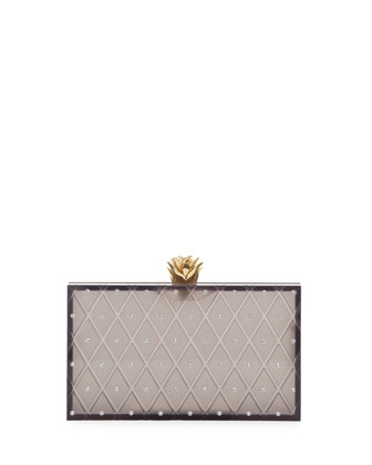 Prickly Pineapple Pandora Box Clutch, Black