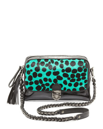 Leopard Zip-Top Shoulder Bag, Emerald