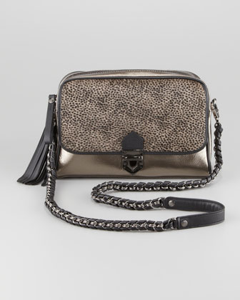 Metallic Calf Hair Shoulder Bag