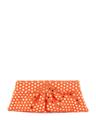 Eve Metallic-Dotted Clutch Bag, Orange