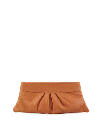 Eve Pin Dot Lambskin Clutch Bag, Camel