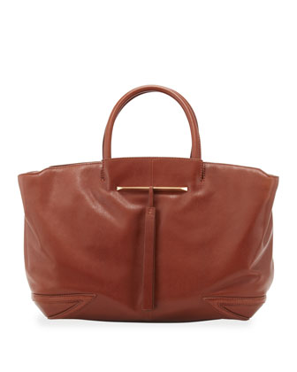 Grace East/West Leather Tote Bag, Brown