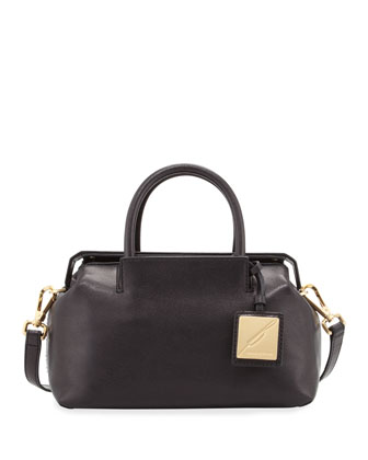 Sandra Mini Leather Satchel Bag, Black