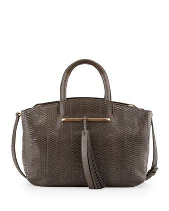Gloria Small East/West Snakeskin Tote Bag, Dark Gray