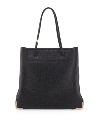 Prisma Skeletal Leather Tote Bag, Black