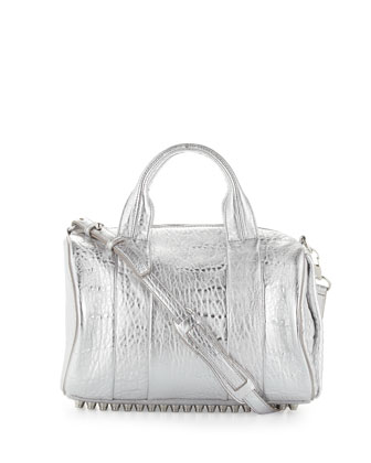 Rocco Stud-Bottom Satchel Bag, Silver
