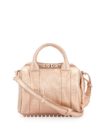 Rockie Dumbo Small Crossbody Satchel Bag, Rose Gold