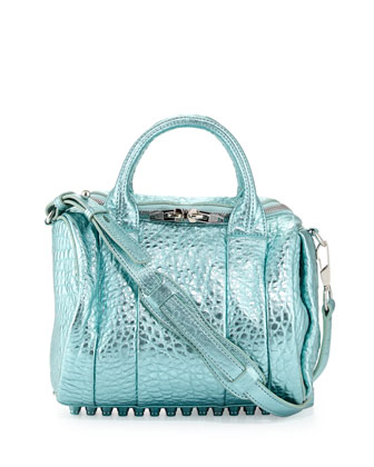 Rockie Dumbo Crossbody Satchel Bag, Green Metallic