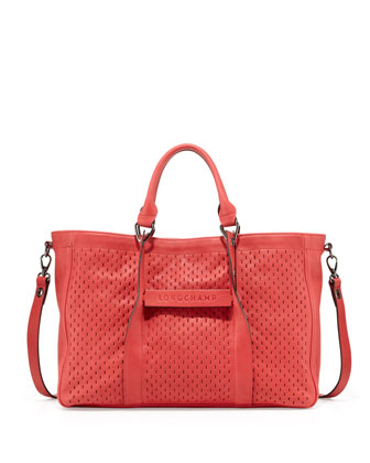 3D Perforated Leather Tote Bag, Watermelon