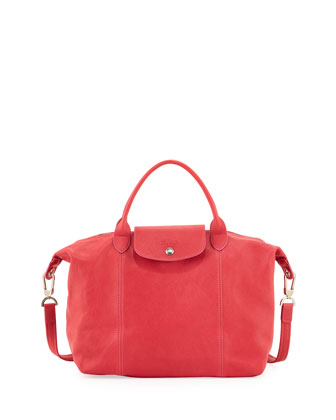 Le Pliage Cuir Handbag with Strap, Pink