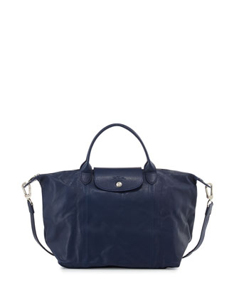 Le Pliage Cuir Shoulder Bag, Indigo