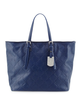 LM Cuir Large Tote Bag, Navy