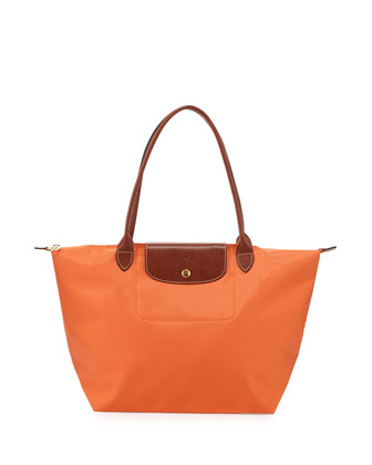 Le Pliage Large Nylon Shoulder Tote Bag, Orange