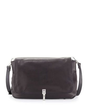 Cynie Lambskin Medium Crossbody Bag, Black