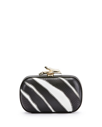 Lytton Zebra Minaudiere, Black/White