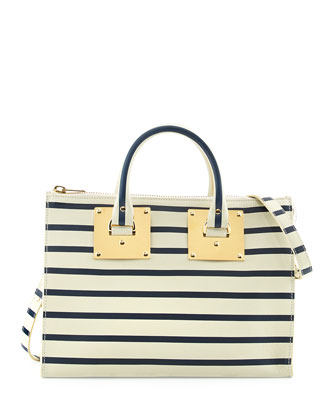 Mini Striped Zip-Top Bowling Bag, Cream/Navy
