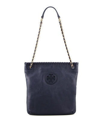 Marion Leather Book Bag, Navy