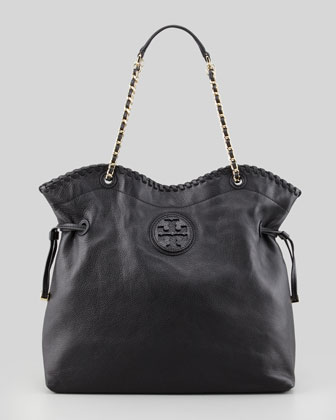 Marion Slouchy Leather Tote Bag, Black