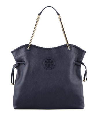 Marion Slouchy Leather Tote Bag, Tory Navy