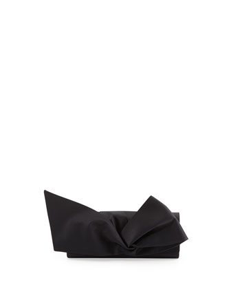 Loubibow Satin Clutch Bag, Black