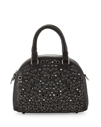 Panettone Small Eyelet Satchel Bag, Black