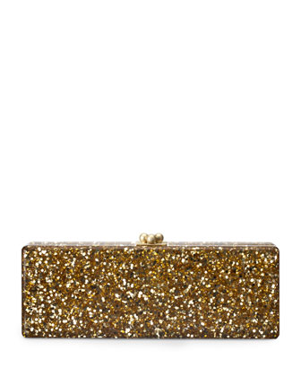 Flavia Confetti Acrylic Clutch Bag, Gold