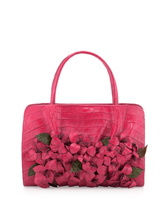 Large Floral-Applique Crocodile Satchel Bag, Pink