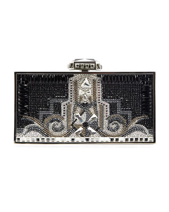 30 Rock Perfect Rectangle Clutch Bag, Silver/Black
