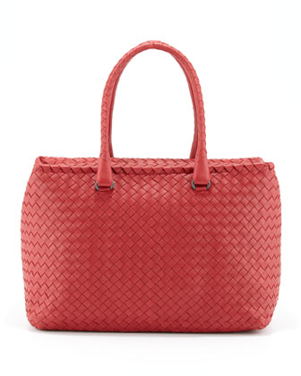 Brick Woven Satchel Bag, Red